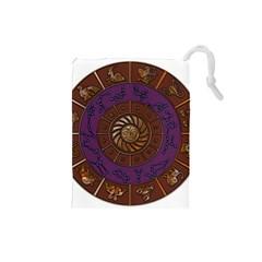 Zodiak Zodiac Sign Metallizer Art Drawstring Pouches (Small)