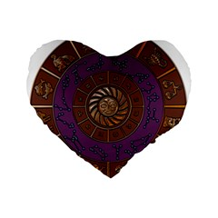 Zodiak Zodiac Sign Metallizer Art Standard 16  Premium Flano Heart Shape Cushions