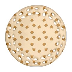 Pattern Gingerbread Star Round Filigree Ornament (two Sides)