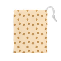 Pattern Gingerbread Star Drawstring Pouches (Large)