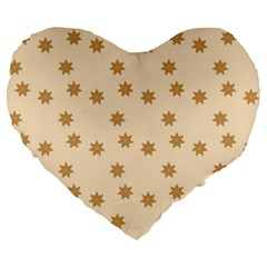 Pattern Gingerbread Star Large 19  Premium Flano Heart Shape Cushions