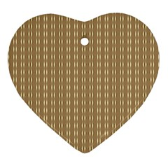 Pattern Background Brown Lines Ornament (heart)