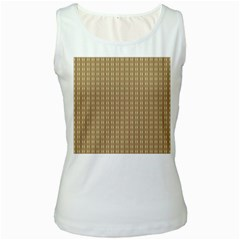Pattern Background Brown Lines Women s White Tank Top