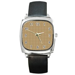Pattern Background Brown Lines Square Metal Watch