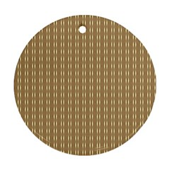 Pattern Background Brown Lines Round Ornament (Two Sides)