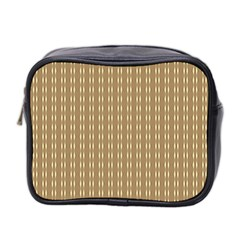 Pattern Background Brown Lines Mini Toiletries Bag 2-Side