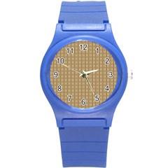 Pattern Background Brown Lines Round Plastic Sport Watch (s)