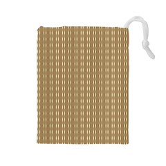 Pattern Background Brown Lines Drawstring Pouches (Large)