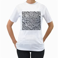 Pattern Motif Decor Women s T-Shirt (White) (Two Sided)