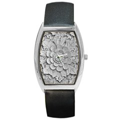 Pattern Motif Decor Barrel Style Metal Watch