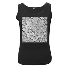 Pattern Motif Decor Women s Black Tank Top