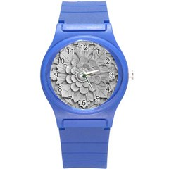 Pattern Motif Decor Round Plastic Sport Watch (S)