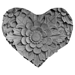 Pattern Motif Decor Large 19  Premium Heart Shape Cushions