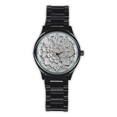 Pattern Motif Decor Stainless Steel Round Watch