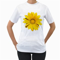 Transparent Flower Summer Yellow Women s T Shirt (white) (two Sided)