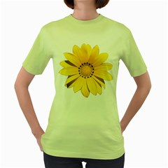 Transparent Flower Summer Yellow Women s Green T Shirt