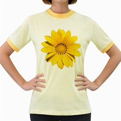 Transparent Flower Summer Yellow Women s Fitted Ringer T-Shirts