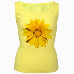 Transparent Flower Summer Yellow Women s Yellow Tank Top