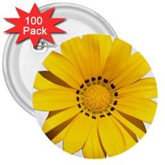 Transparent Flower Summer Yellow 3  Buttons (100 pack)