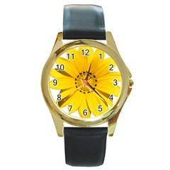 Transparent Flower Summer Yellow Round Gold Metal Watch