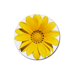 Transparent Flower Summer Yellow Rubber Round Coaster (4 pack)