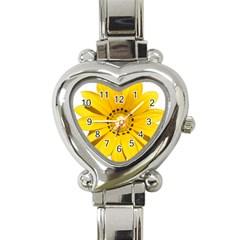 Transparent Flower Summer Yellow Heart Italian Charm Watch