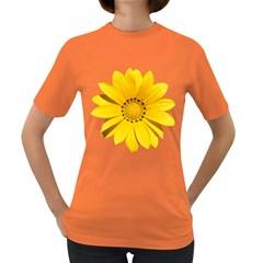 Transparent Flower Summer Yellow Women s Dark T-Shirt