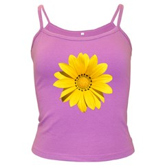 Transparent Flower Summer Yellow Dark Spaghetti Tank