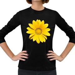 Transparent Flower Summer Yellow Women s Long Sleeve Dark T Shirts