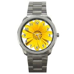 Transparent Flower Summer Yellow Sport Metal Watch