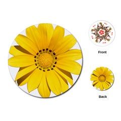 Transparent Flower Summer Yellow Playing Cards (round)