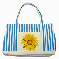 Transparent Flower Summer Yellow Striped Blue Tote Bag