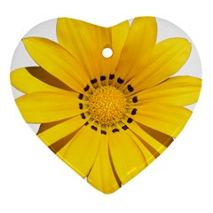 Transparent Flower Summer Yellow Heart Ornament (Two Sides)