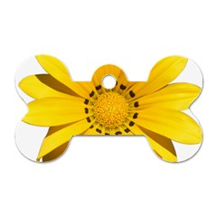 Transparent Flower Summer Yellow Dog Tag Bone (Two Sides)