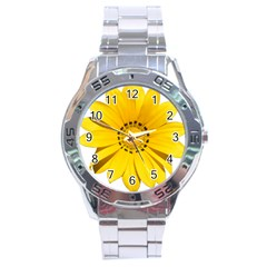Transparent Flower Summer Yellow Stainless Steel Analogue Watch