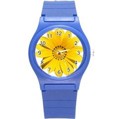 Transparent Flower Summer Yellow Round Plastic Sport Watch (S)