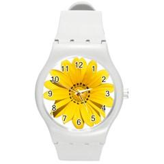 Transparent Flower Summer Yellow Round Plastic Sport Watch (M)