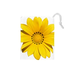 Transparent Flower Summer Yellow Drawstring Pouches (Small)
