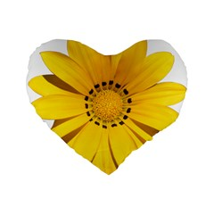 Transparent Flower Summer Yellow Standard 16  Premium Flano Heart Shape Cushions