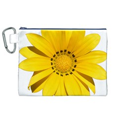 Transparent Flower Summer Yellow Canvas Cosmetic Bag (XL)