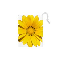 Transparent Flower Summer Yellow Drawstring Pouches (xs)