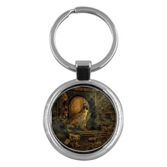 Woman Lost Model Alone Key Chains (Round)