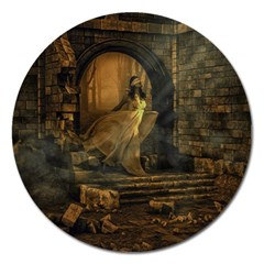 Woman Lost Model Alone Magnet 5  (Round)