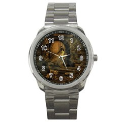 Woman Lost Model Alone Sport Metal Watch