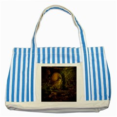 Woman Lost Model Alone Striped Blue Tote Bag
