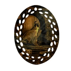 Woman Lost Model Alone Oval Filigree Ornament (two Sides)