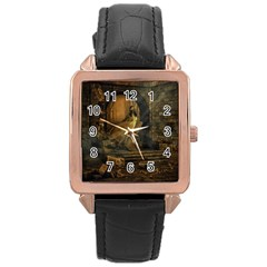 Woman Lost Model Alone Rose Gold Leather Watch