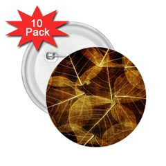 Leaves Autumn Texture Brown 2 25  Buttons (10 Pack)