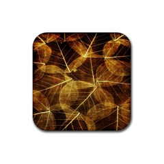 Leaves Autumn Texture Brown Rubber Square Coaster (4 pack)