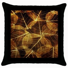 Leaves Autumn Texture Brown Throw Pillow Case (Black)